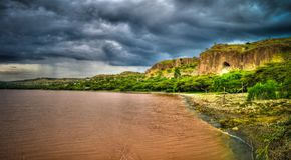 Langano湖海岸线, Oromia,埃塞俄比亚风景  免版税库存图片