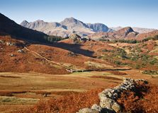 Langdale Pikes and countryside Royalty Free Stock Photos