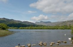 Langdale Pikes and Elterwater Royalty Free Stock Image