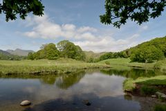 Langdale Pikes and Elterwater Stock Image