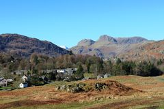 Langdale Pikes from near Elterwater, Cumbria Royalty Free Stock Image
