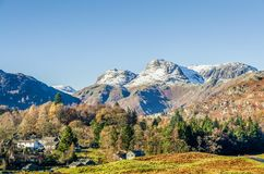 Langdale Pikes over Elterwater village, English Lake District, UK Royalty Free Stock Photography