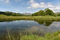 Langdale Pikes reflected in River Brathay Stock Photography