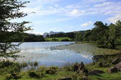 The Langdales from Loughrigg tarn Royalty Free Stock Photos