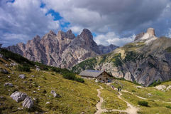 Lange Alm Alpine club hut in Dolomites Royalty Free Stock Images