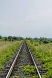 Lange alte Eisenbahn auf dem Gebiet, das in den Abstand verschwindet Lizenzfreie Stockfotos