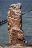 Lange Anna - de stapel in volle zee op het Eiland Helgoland stock afbeeldingen