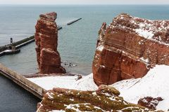 Lange Anna in Winter, Helgoland. Lange Anna on Helgoland in winter, North Sea, Germany Royalty Free Stock Photography
