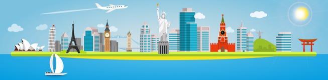 Lange banner op het onderwerp van het reizen rond de wereld Royalty-vrije Stock Afbeelding