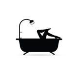 Lange Beinillustration des Mädchens im bathtube Stockfotografie