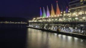 Lange Belichtung des Kanada-Platzes Vancouver lizenzfreie stockbilder