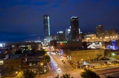 Lange Belichtung im Stadtzentrum gelegenen OKC Stockfotos