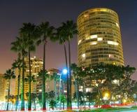 Lange Belichtung internationaler Turm-Long Beach s Lizenzfreies Stockbild
