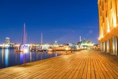 Lange Belichtung von Hendersons-Kai in Baltimore, Maryland stockbild