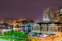 Lange Belichtungen während der Nachtzeit auf Bundeshügel in Baltimore, M lizenzfreies stockbild