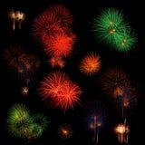 Lange Berührung des Feuerwerkhintergrundes Stockfotografie