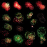 Lange Berührung des Feuerwerkhintergrundes Stockfotos