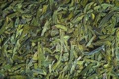 Lange bladeren groene losse thee, textuur Stock Foto