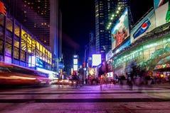 Lange blootstelling van activiteit in Times Square, de Stad van New York Royalty-vrije Stock Foto's