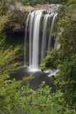 Lange blootstelling van een waterval in rotsachtig die platteland door bos wordt omringd royalty-vrije stock foto's