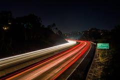 Lange blootstelling van Route 125 van Californië bij nacht, in La Mesa, Cali Royalty-vrije Stock Afbeelding