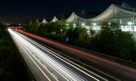 Lange blootstelling van verkeer stock afbeeldingen