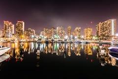 Lange blootstelling van Waikiki-horizon Stock Afbeelding