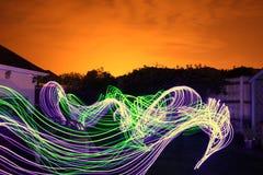 Lange Blootstellings Lichte Slepen Stock Afbeelding