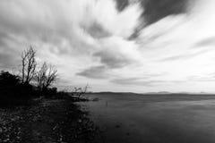 Lange blootstellingsmening van een meerkust, met naakte bomen en bewegende witte wolken royalty-vrije stock foto
