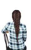 Lange Bruine Haarvlecht Achter mening Royalty-vrije Stock Foto's