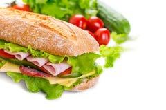 Lange Ciabatta-Sandwich Stock Afbeeldingen