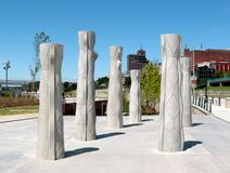 Lange Concrete Beeldhouwwerken bij de Beale-Straat die Memphis, Tennessee landen stock fotografie