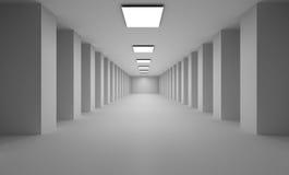 Lange 3D passage met vlakke witte lichten op plafond Royalty-vrije Stock Foto's
