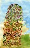 Lange de herfstboom Stock Afbeelding