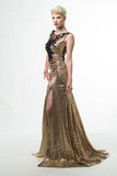 Lange de Manierkleding van de vrouwenschoonheid, Elegant Meisje in Gouden Toga Royalty-vrije Stock Foto