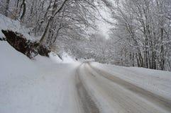 Lange die weg in sneeuw wordt behandeld stock afbeeldingen