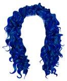 Lange dunkelblaue Farben der gelockten Haare Schönheitsmodeart perücke stock abbildung