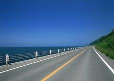Lange en brede weg aan de oceaan Royalty-vrije Stock Foto's
