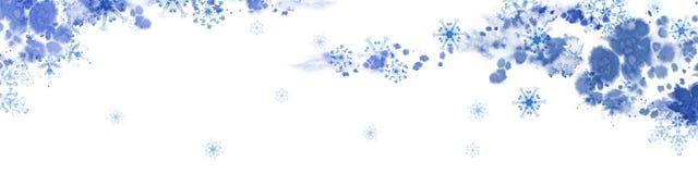 Lange Fahne des Winters mit blauen Schneeflocken und eisigem Muster Handgemalte horizontale Illustration Lizenzfreie Stockbilder