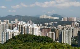 Lange flats met groene berg en blauwe hemel Stock Fotografie