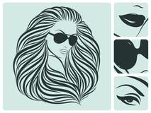 Lange Frisur. Vektorabbildung. Stockbild