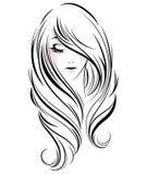 Lange Frisurenikone der Frauen, Logofrauen auf weißem Hintergrund stockbild