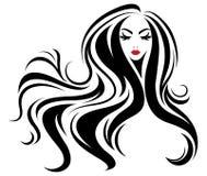 Lange Frisurenikone der Frauen, Logofrauen auf weißem Hintergrund Lizenzfreies Stockfoto