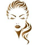 Lange Frisurenikone der Frauen, Logofrauengesicht Lizenzfreies Stockbild