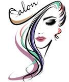 Lange Frisurenikone der Frauen, Logofrauengesicht auf weißem Hintergrund