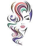 Lange Frisurenikone der Frauen, Logofrauengesicht auf weißem Hintergrund stockfotografie