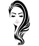 Lange Frisurenikone der Frauen, Logofrauengesicht auf weißem Hintergrund stock abbildung