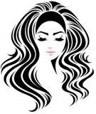 Lange Frisurenikone der Frauen, Logofrauengesicht auf weißem Hintergrund Stockfotos