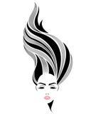 Lange Frisurenikone der Frauen, Logofrauengesicht auf weißem Hintergrund Lizenzfreies Stockfoto