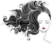 Lange Frisurenikone, Logofrauengesicht Stockfotos